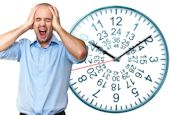 distraught man and funny clock